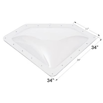 """Picture of Icon  4""""H Bubble Dome Neo Angle Clear PC Skylight w/11"""" X 24"""" Flange 01864 22-0025"""
